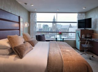 Deluxe bedroom with city view at Manchester Radisson Blu Edwardian